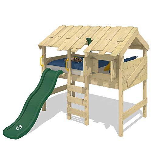 WICKEY Kinderbett Hochbett CrAzY Lagoon mit grüner Rutsche, Hausbett 90 x 200 cm, Etagenbett