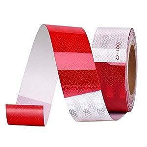 Onerbuy-Cinta-reflectante-impermeable-Peligro-Precaucin-Advertencia-Etiqueta-adhesiva-Rodillo-reflector-adhesivo-fuerte-para-automviles-camiones-remolques-6-m-20-pies-rojo-y-blanco