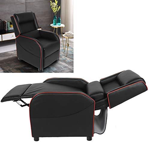 Sofa Recliner Recliner Chair Einzelsofa Recliner PU-Leder für das Wohnzimmer zu Hause mit Verstellbarer Fußstütze(red, White)