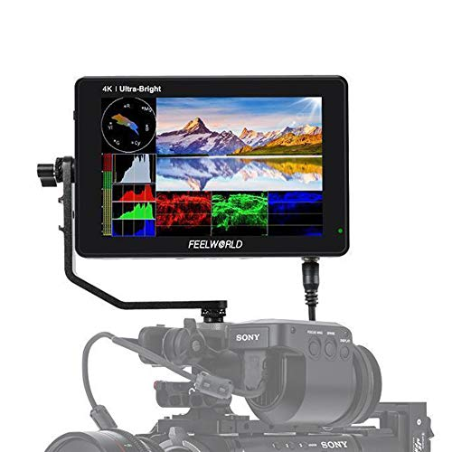 FEELWORLD LUT7S DSLR Camera Field Monitor 7 Inch 2200nits 3D LUT Touch Screen with Waveform VectorScope Histogram 3G-SDI 4K HDMI Input Output 1920X1200 IPS Panel