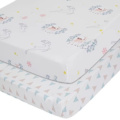 TILLYOU Mikrofaser-Spannbetttuch-Set für Babybetten, Jungen, Mädchen, superweich, für Standard-Kinderbett- und Kleinkind-Matratzen, 71,1 x 132,1 x 20,3 cm, Elch und Hirsch