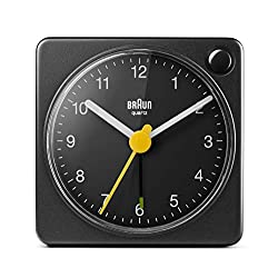 Braun Classic Travel Analogue Clock with Snooze and Light, Compact Size, Quiet Quartz Movement, Crescendo Beep Alarm in Black, Model BC02XB, One