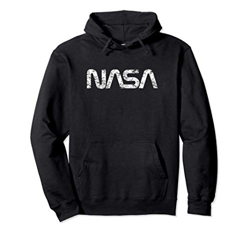 Officially Licensed NASA Worm White Distressed Space Geek Pullover Hoodie
