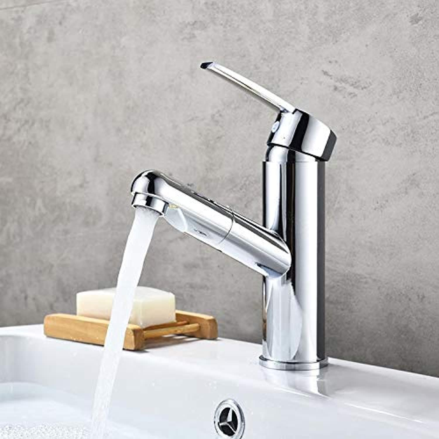 Taps Faucet All Copper Pullable Basin Faucet Washbasin Hot and Cold Water Retractable Bathroom Cabinet Pull-Out Faucet