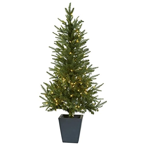 Nearly Natural 5443 Christmas Tree with Clear Lights and Decorative Planter, 4.5-Feet, Green