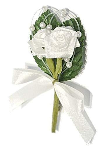Gästeanstecker Hochzeit / 12 Stück/Weiss/mit Perlen, Schleife und Nadel