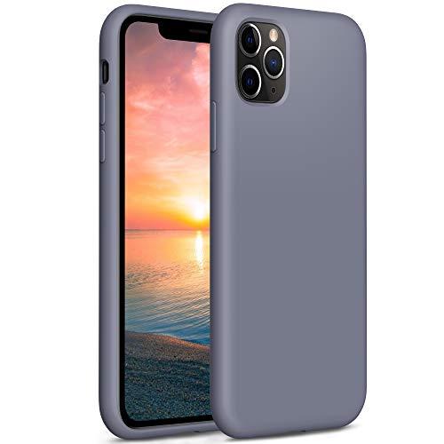 """YATWIN Funda de Silicona Compatible con iPhone 11 Pro MAX 6.5"""", Carcasa iPhone 11 Pro MAX Case,Carcasa de Sedoso-Tacto Suave, Protección Funda Protectora 3 Tapas Estructura, Gris Lavanda"""