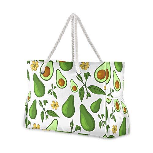 MNSRUU Extra große Damen-Strandtasche, Organizer-Tasche für Urlaub, Picknick, tropische Avocado, Obst, Blume, Schultertasche, Reisetasche