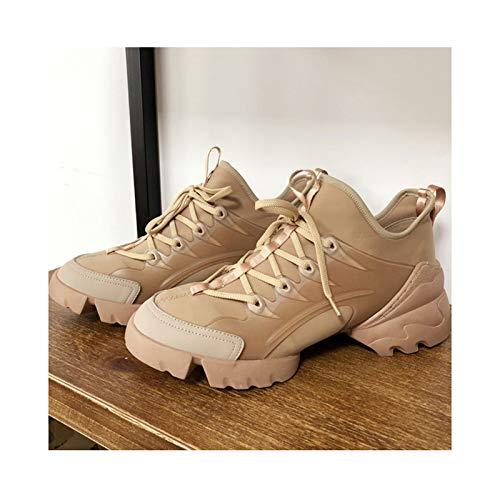 HaoLin Zapatillas de Deporte para Mujer con Suela Gruesa y Purpurina, Zapatos Deportivos para Mujer, Zapatillas de Deporte Retro Informales para Aumentar La Altura,Beige-40 EU