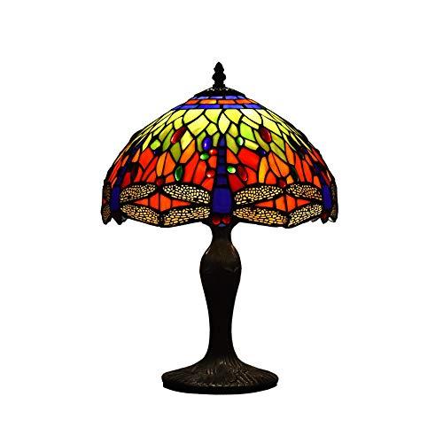 LYDQ Iluminación Retro Lámpara de Sobremesa de Estilo Tiffany, 12 Pulgadas Amplia Simple Libélula Patrón Lampara de Mesa Adecuado para Sala de Estar Dormitorio Estudio E26/E27*1