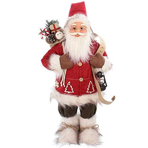 SIDCO Weihnachtsmann groß Nikolaus Laterne Wunschliste Deko Figur Weihnachten 62 cm