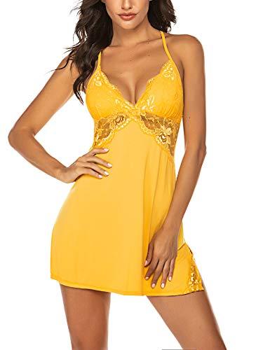 Avidlove Sexy Negligee Nachtwäsche Nachthemd Spitze Lingerie Nachtkleid Babydoll Dessous Reizwäsche Sleepwear Kleid mit String für Damen Gelb XL