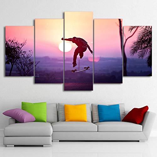 ZNNHERO Leinwanddrucke 5 Stück Leinwand Kunst HD gedruckt Skateboard Leinwand Malerei Cool Sport Sonnenuntergang Wandbilder Home Decor Drucke auf Leinwand Rahmen
