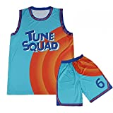 Space Jam Jerseys Men's Basketball Jerseys 6# Toon Squad Jersey A New Legacy Movie Shirts (top+Pants, S)