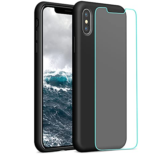 YATWIN Compatibile con Cover iPhone X 5,8'', Compatibile con Cover iPhone XS Silicone Liquido + Vetro Temperato, Protezione Completa del Corpo con Fodera in Microfibra, Nero