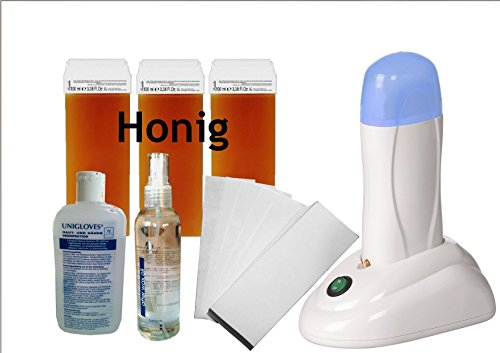 Waxing-Set Starter mit Wachsstation sanfte Haarentfernung mit Heißwachs (Honig)