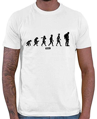 HARIZ T-Shirt pour Homme Evolution Urmensch Randonnée Escalade + Cartes Cadeau - Blanc - Small