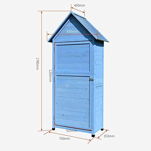41shURJOmrL - Zengqhui Außen Balkon Locker Lagerschrank Garten Regenfest Sunproof Korrosionsschutz Hof Ideale Aufbewahrungsbox für den Außenbereich (Farbe : Blau, Size : 84x45x178cm)