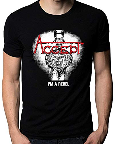 Accept I'm A Rebel Music Metal Band Logo Men's T-Shirt,Black,X-Large