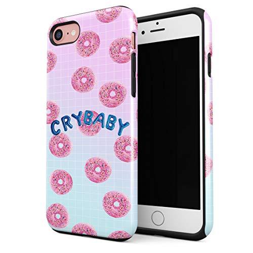 Cover Universe Funda para iPhone 7/8 / SE 2020 Crybaby Sweet Pink Glazed Donuts Pattern, Resistente a los Golpes, Carcasa Dura de PC de 2 Capas + Funda Protectora de Diseño Híbrido de TPU