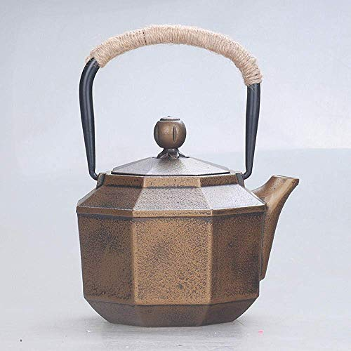 Juego de té Teteras exóticas, Juegos de té Hervidor de Hierro Fundido 850ML Ese Hervidor Artesanal Olla de Hierro Fundido Octogonal Sin Revestimiento