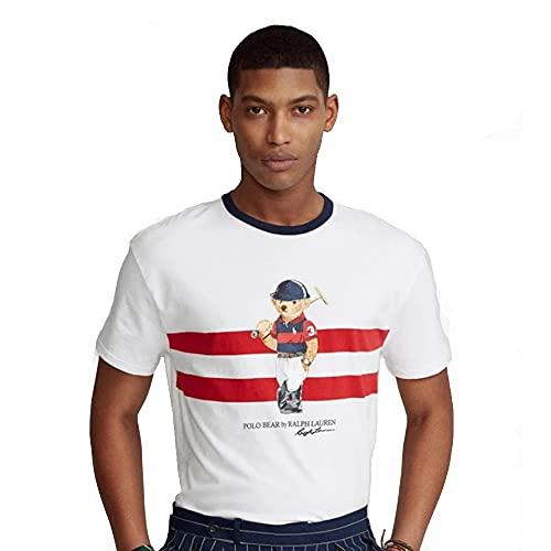 Polo Ralph Lauren Camiseta Custom Slim fit Polo Bear (White, L)