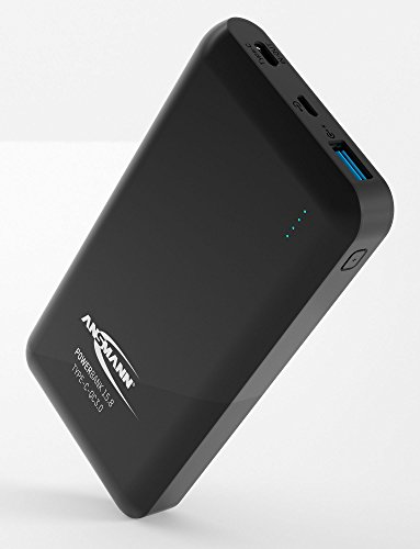 Ansmann Powerbank Quickcharge 3.0 15000 mAh & 3A Ausgang - Fast Charge Power Bank mit USB & Typ C Port - Ladegerät mit LED Anzeige für Smartphone Handy Tablet UVM - Externer Akku mit Quick Charge