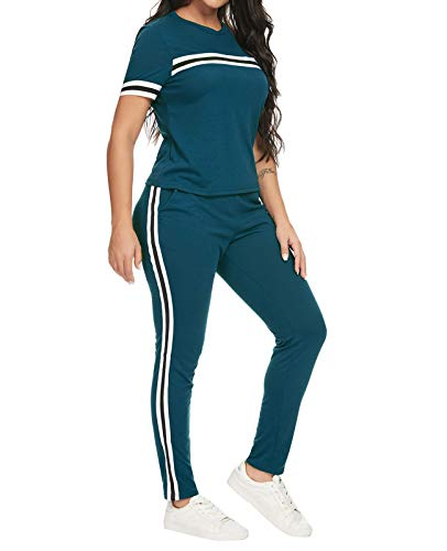 MINTLIMIT Trainingsanzug Damen 2 Stück Outfit Streifen Jogginganzug Frauen Tracksuit Retro Top T-Shirt Lange Hose Beiläufig Sport