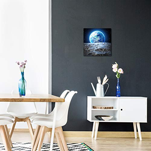 Earth Poster Canvas Wall Art Earthrise From The Moon Outer Space Painting Home Office Universe Decor Framed Art Print Modern Pictures For Living Room Bedroom Decoration 12x12inch Ready To Hang Buy