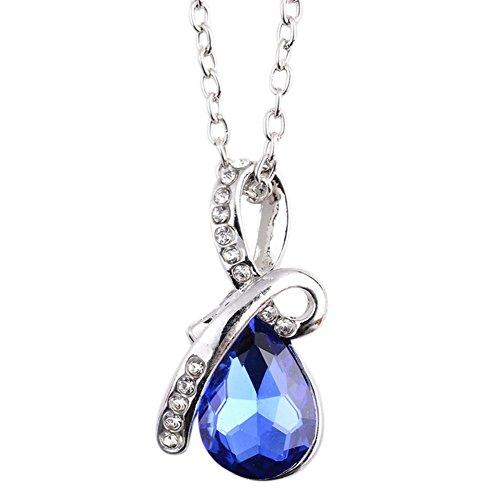 Drawihi Collier Pendentif Bijoux pour Dames Filles, Cadeaux Saint-Valentin Idéal-Bleu