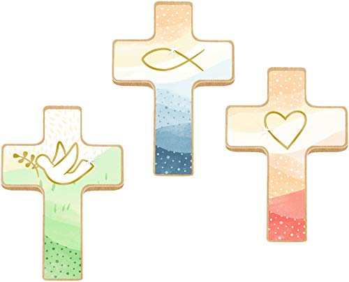Holzkreuz - Du bist geborgen in Gottes Hand - Kleine Hand-Holzkreuze auf Mini-Büchlein
