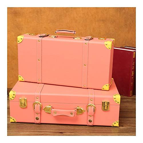 GYMEIJYG Maleta Vintage Maletero Caja De Almacenaje para Viaje Cafetería Bar Festival Regalo 2 Estilos 1 Juego De 2 (Color : Pink)