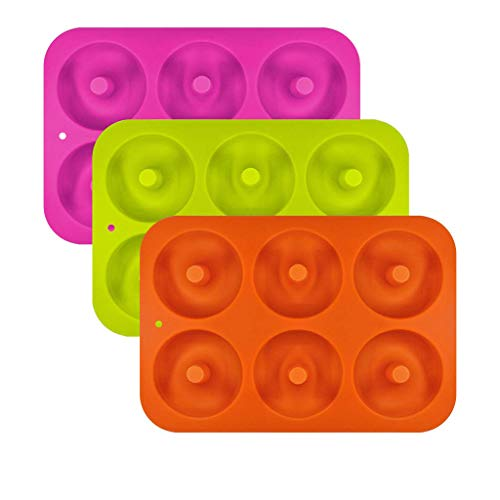 Duquanxinquan - 3 moldes de silicona para hornear 6 cavidades para hornear pasteles, color naranja, rojo y verde