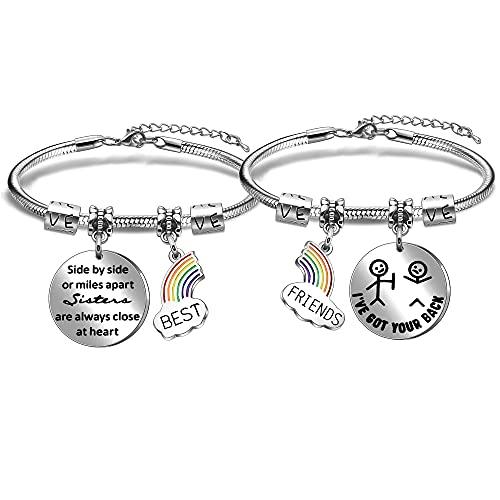 Newnal Pulsera de arco iris dividida para amigos o millas Apart Best Friends are Always Close at Heart
