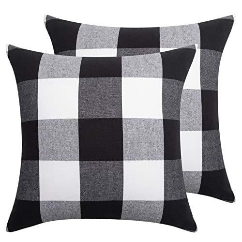 NEOVIVA Juego de 2 fundas de almohada decorativas para cojín de 45 x 45 cm, diseño de cuadros de búfalo, color blanco y negro