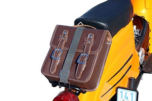 Kleine Leder Hecktasche mit Schnellverschluss Gepäckträger Tasche Packtasche Braun für Simson Schwalbe Sperber Star Spatz KR50 KR51 SR4