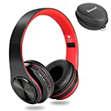Dozod Bluetooth Headphones Over Ear, Wireless Foldable Hi-Fi Deep Bass Headset with Mic, Wired/SD Card Headphone with Volume Control for iPhone/iPad/Samsung/PC (Black/Red)