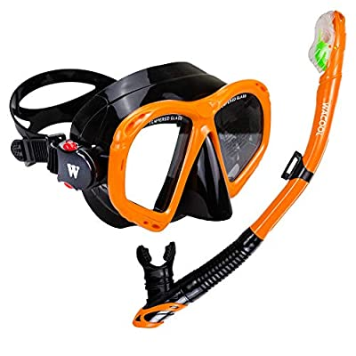 WACOOL Snorkeling Package Set for Adults, Anti-Fog Coated Glass Diving Mask, Snorkel with Silicon Mouth Piece,Purge Valve and Anti-Splash Guard (Orange)