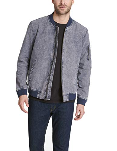 Levi's Men's Cotton Bomber Jacket, Acid wash Navy, Large