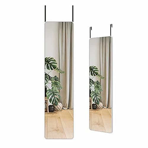 Wandspiegel Ganzkörperspiegel, 30x120cm Spiegel mit Weißer Rahmen, Spiegel für Tür Hängen, für Schlafzimmer, Ankleidezimmer, Schuhschrank
