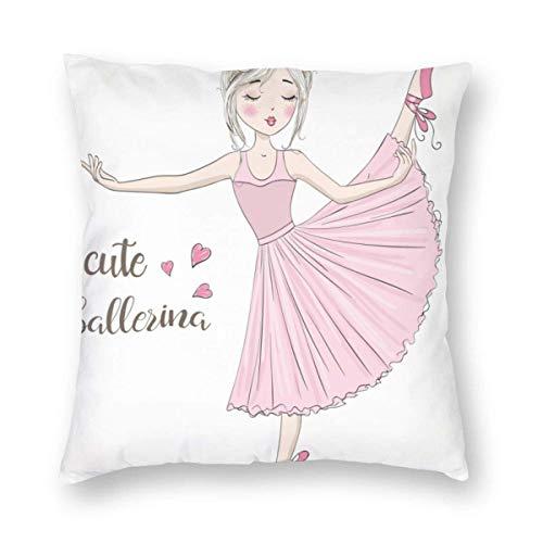 Funda de Almohada Impresa con diseño de Dos Lados, Hermosa Bailarina Linda y Encantadora con pecas y Flores en la Cabeza Funda de Almohada Cuadrada Funda de cojín para sofá Sofá Decoración del hogar