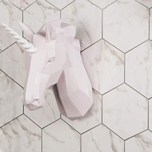 Walplus Contemporáneo Imitación Taxidermia Cabezal para Pared Decoración Animal Réplica Home Decorativa Mount Arte Escultura Regalo Rosa Unicornio Colgador de Pared