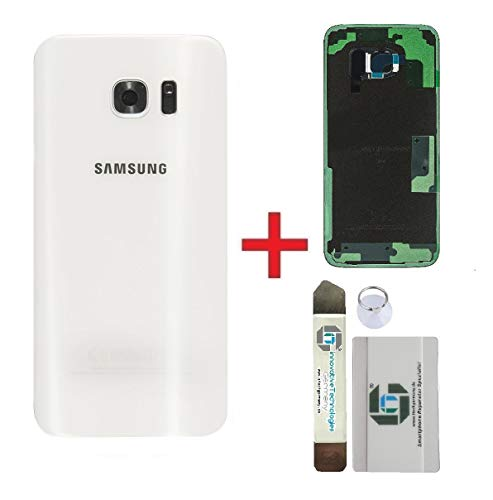 iTG® Original Akkudeckel Reparatur-Set für Samsung Galaxy S7 Edge Weiss (White Pearl) - Original Samsung Rückseite Batterieabdeckung für SM-G935F + Vormontierte 3M Klebefolie + Werkzeug-Set