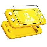 KZIOACSH Coque pour Nintendo Switch Lite+ Verre Trempé,Anti-Rayures,Antichoc,Coque en Silicone Ultra-Mince,Jaune