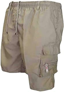 Yisism Men Classic Fit Multi-Pockets Elastic Waist Outdoor Casual Cargo Shorts