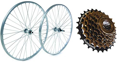RALEIGH TRU BUILD 26' Alloy Front & Rear Mountain Bike Wheel Set- Nutted - Silver - Including 6 Speed Shimano Freewheel RGR810/RGH810