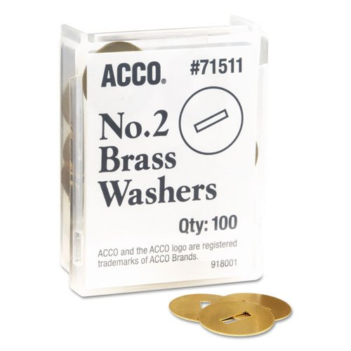 """ACCO Products - ACCO - Washers for Prong Paper File Fasteners, 1-1/4"""" Diameter, 100/Box - Sold As 1 Box - Use top and bottom to get a tighter grip and prevent tearing. - Fits prong paper fasteners from 1 1/4"""" to 4"""" long. - All brass construction."""