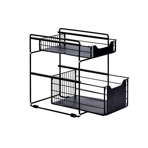 BENOSS Stackable 2 Tier Cabinet Organizer With Sliding Storage Drawer Under Sink, Countertop Pull...