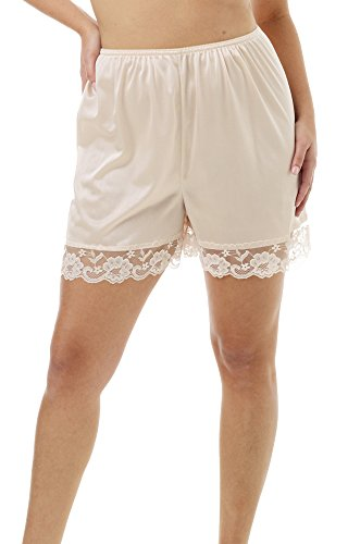 Underworks Pettipants Nylon Culotte Slip Bloomers Split Skirt 4-inch Inseam X-Large-Beige