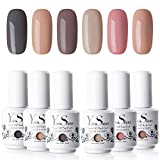 Vernis Gel Semi Permanent - Y&S UV LED Vernis à Ongles Gel Soak Off Manucure Cadeau Kit, 6 Couleurs X 8ml, Lot Populair La Terre Série